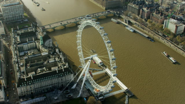 aerial view of london eye in capital city - global politics stock videos & royalty-free footage