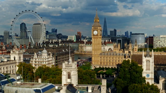Aerial view of London including Big Ben and London Eye under moody sky