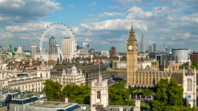 aerial view of london including big ben and london eye - big ben stock videos & royalty-free footage