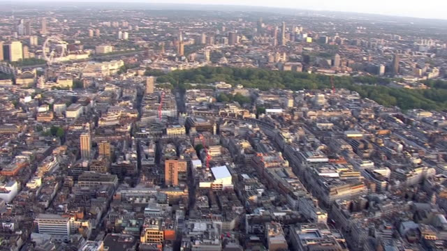 aerial view of london on 'clap for carers' day for key workers in a weekly moment of appreciation during the coronavirus outbreak on 7 may april 2020... - day stock videos & royalty-free footage