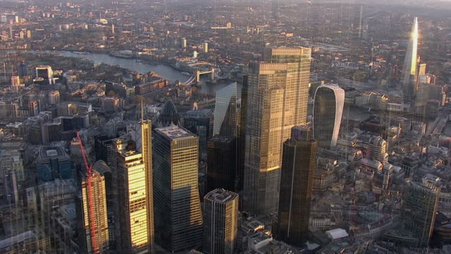 aerial view of london skyscrapers - aerial view stock videos & royalty-free footage