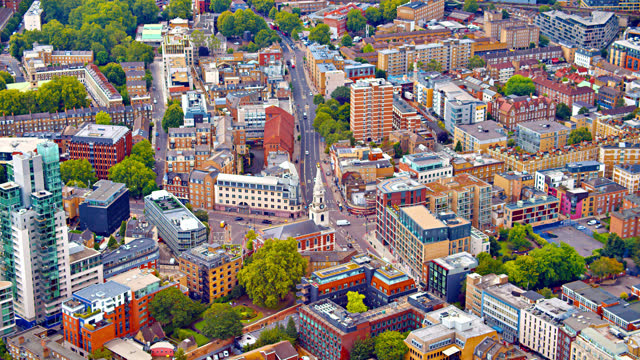 aerial view of london street - town stock videos & royalty-free footage