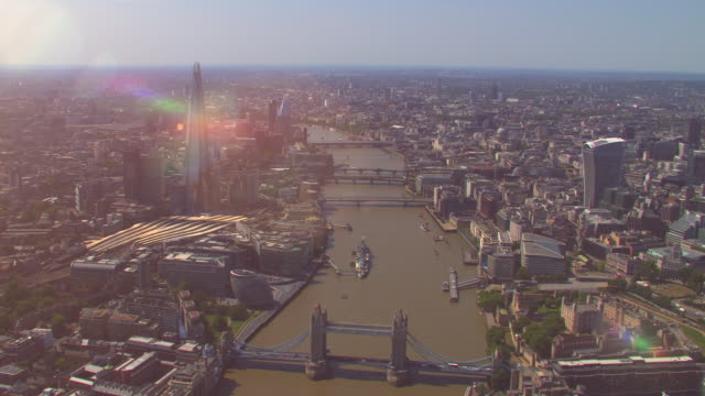 aerial view of london, uk. 4k - river thames stock videos & royalty-free footage
