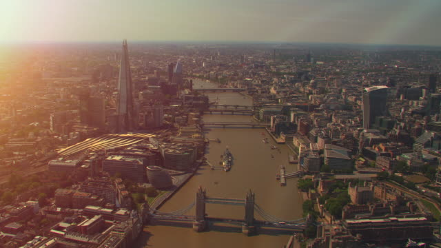 aerial view of london, uk. 4k - sunlight stock videos & royalty-free footage