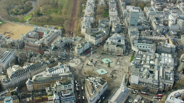 aerial view of london's nelson's column and parks - nelson's column stock videos and b-roll footage