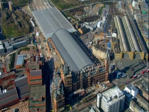Aerial view of London's St.Pancreas train station. NTSC, PAL