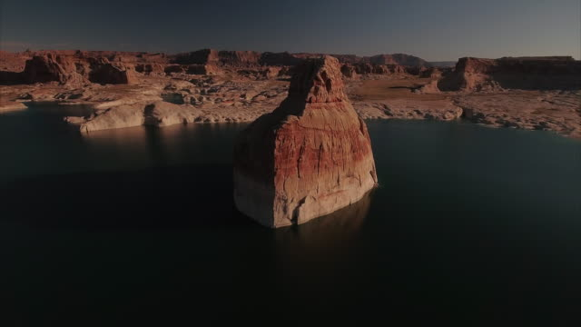 aerial view of lone rock at lake powell utah - lake powell stock videos & royalty-free footage