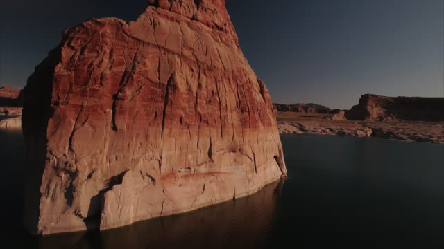 aerial view of lone rock at lake powell utah - lake powell stock videos & royalty-free footage