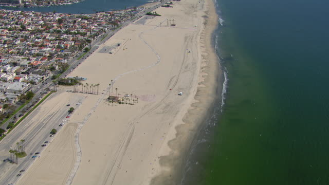 aerial view of long beach and belmont shore in california. - long beach california stock videos & royalty-free footage