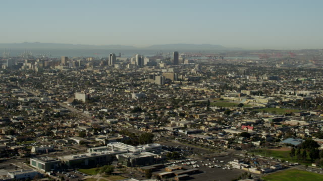 aerial view of long beach california - aerial transport building stock videos & royalty-free footage