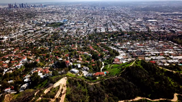 Aerial view of Los Angeles and Hollywood mountains