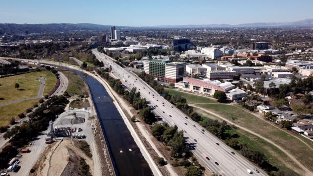 aerial view of los angeles freeway and glendale city - glendale california stock videos & royalty-free footage
