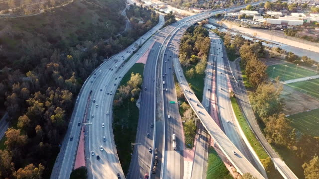 aerial view of los angeles freeway and glendale - glendale california stock videos & royalty-free footage