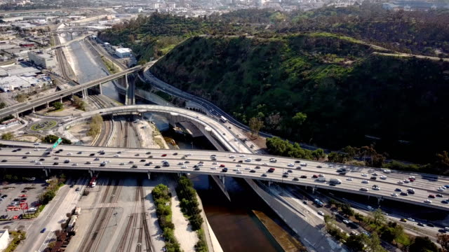 4K Aerial view of Los Angeles freeway and traffic