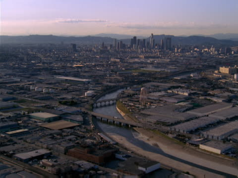 aerial view of los angeles showing the aqueduct and skyline. - artbeats stock videos & royalty-free footage