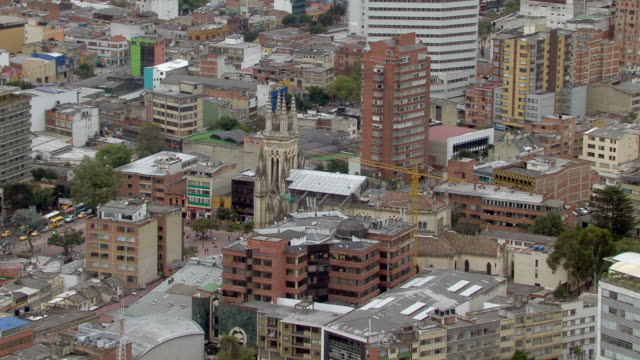 aerial view of lourdes church with crowded cityscape, bogota, colombia - bogota stock videos & royalty-free footage