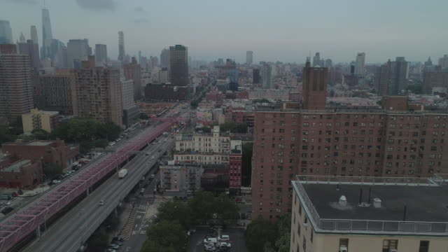 aerial view of lower east side. new york city. usa. - manhattan bildbanksvideor och videomaterial från bakom kulisserna