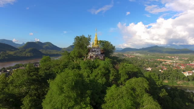aerial view of luang prabang, laos - laos stock videos and b-roll footage