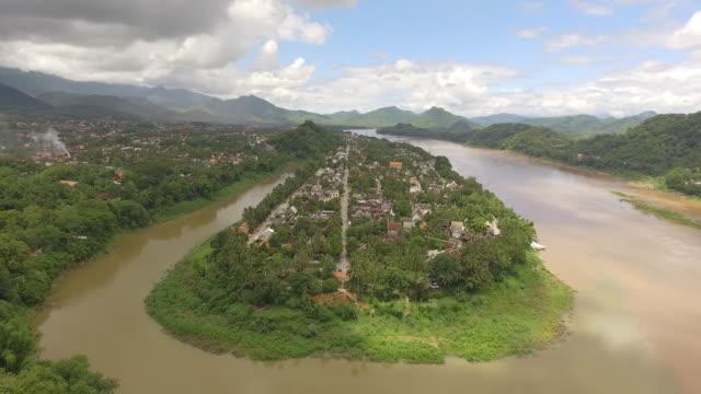 Aerial view of Luang Prabang Peninsula, Laos