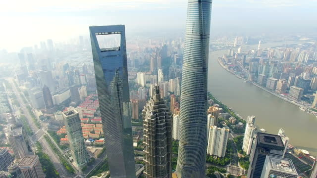 aerial view of lujiazui business center/shanghai.china. - 上海環球金融中心点の映像素材/bロール