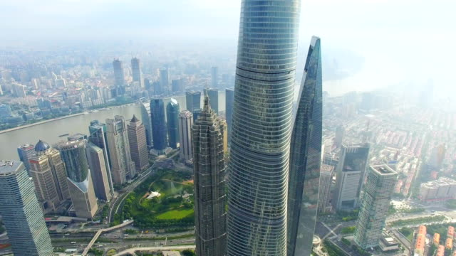 t/l aerial view of lujiazui business center/shanghai.china. - shanghai tower stock videos & royalty-free footage