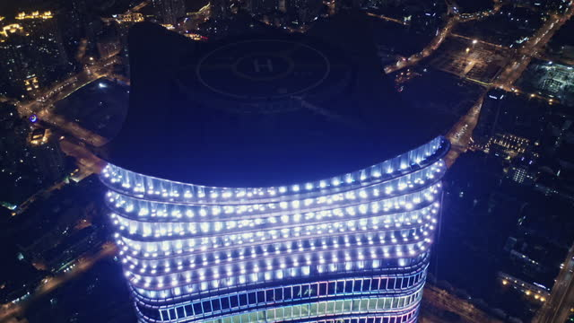 aerial view of lujiazui financial district at night - lujiazui stock videos & royalty-free footage