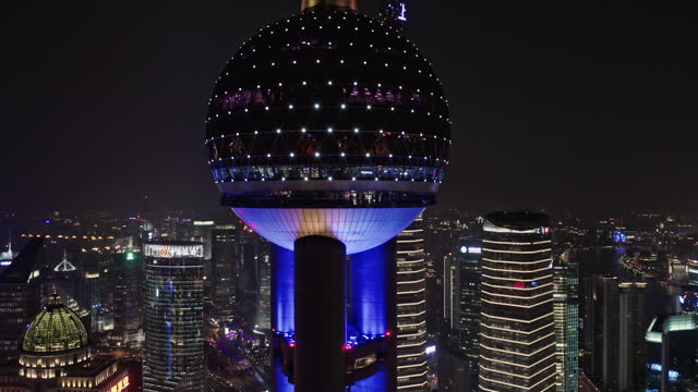 aerial view of lujiazui financial district at night - aerial stock videos & royalty-free footage