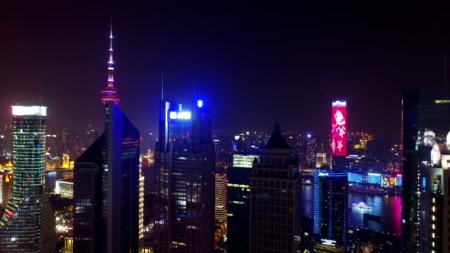 Aerial  view of Lujiazui in night, shanghai - China. Taken by drone