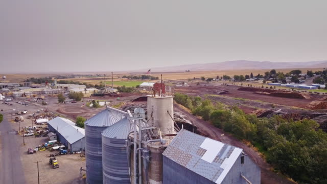 Aerial View of Lumber Yard Silo