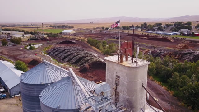 aerial view of lumber yard silo - umatilla stock videos and b-roll footage