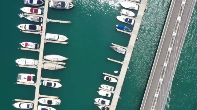 aerial view of luxury marina yacht - marina stock videos & royalty-free footage