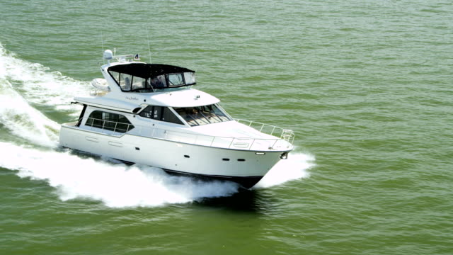 Aerial view of luxury motor cruiser Pacific Ocean