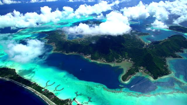 aerial view of luxury vacation resorts bora bora - polynesian ethnicity stock videos & royalty-free footage