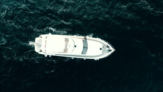 aerial view of luxury yacht on bosphorus, marmara sea istanbul - bosphorus stock videos & royalty-free footage