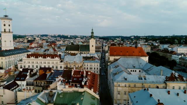 aerial view of lviv, ukraine - ukraine stock videos and b-roll footage