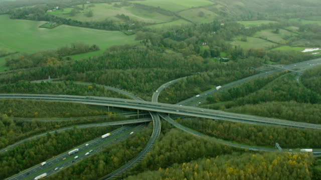 Aerial view of M25 motorway system outside London