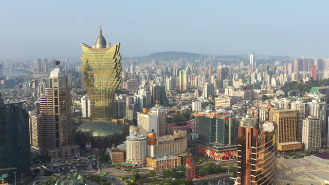 aerial view of macau during day time - macao stock videos & royalty-free footage