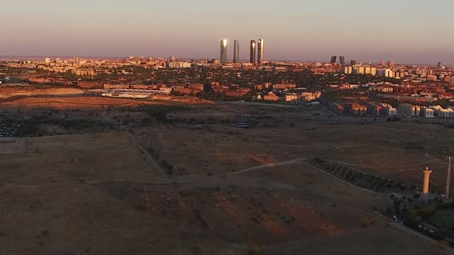 aerial view of madrid on july 21 in madrid, spain. madrid is the capital and most populous city of spain. the city has almost 3.4 million inhabitants... - マドリード グランヴィア通り点の映像素材/bロール