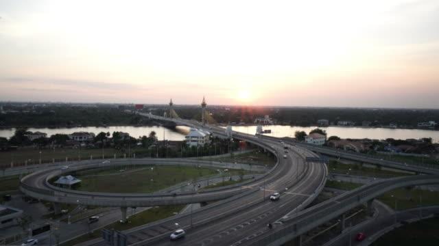 Aerial view of Maha Chesadabodindranusorn Bridge