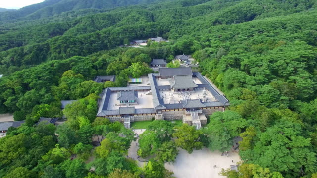 aerial view of main buildings of bulguksa temple (famous tourist attraction) - gyeongju stock videos and b-roll footage