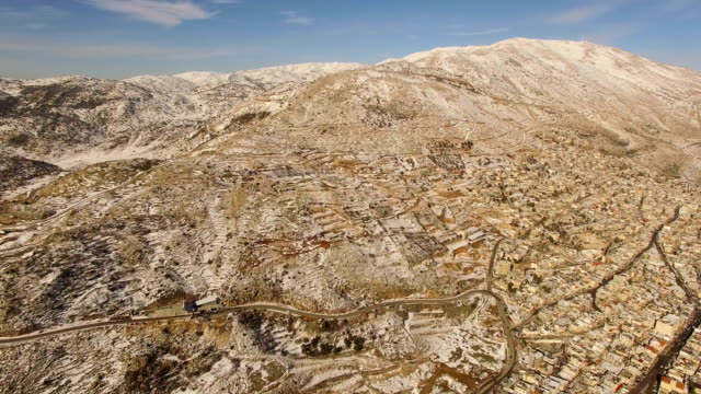 Aerial view of Majdal Shams Druze village, with Golan Heights covered with snow