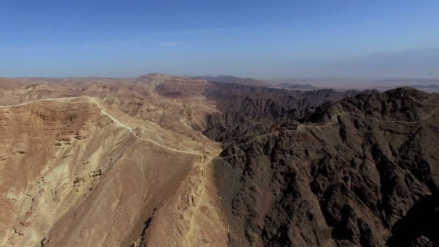 Aerial view of Majestic Eilat Mountains with gulf of eilat in background