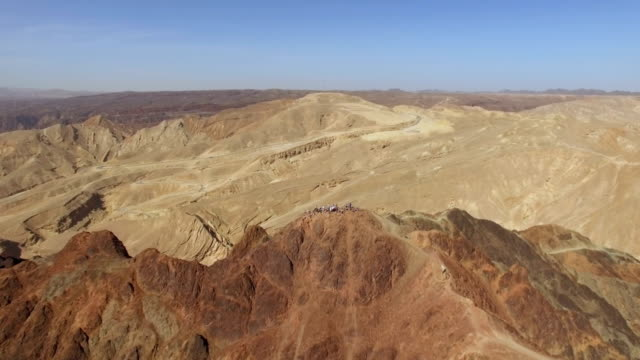 aerial view of majestic eilat mountains with gulf of eilat in background - spotted dolphin stock videos and b-roll footage