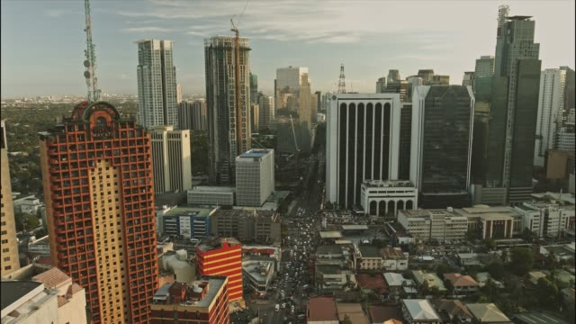 aerial view of makati central business district - philippines stock videos and b-roll footage