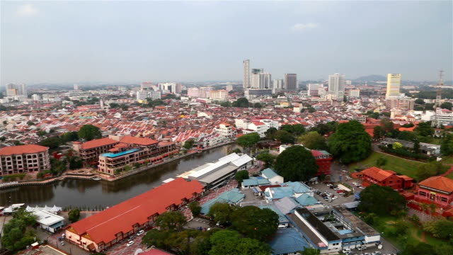 aerial view of malacca (melaka) in malaysia - malacca stock videos and b-roll footage