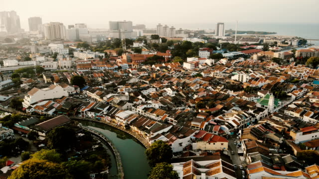 aerial view of malacca town  at dawn - malacca stock videos and b-roll footage