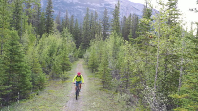 aerial view of male mountain biker, following path at sunrise - mountain biking stock videos & royalty-free footage