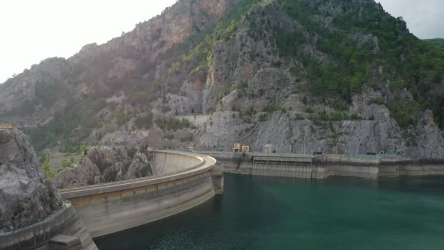 aerial view of manavgat dam - hydraulic platform stock videos & royalty-free footage