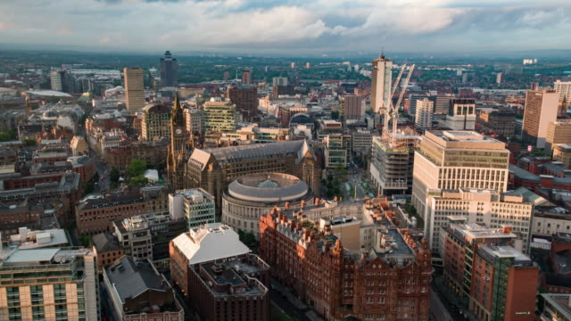 aerial view of manchester city centre - drone footage - aerial view stock videos & royalty-free footage