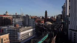 Aerial view of Manchester city centre UK 4K
